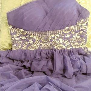Enchanting Purple Chiffon Gown w Rhinestones